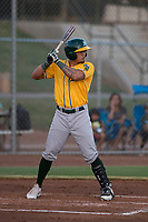 AZL Athletics right fielder Yhoelnys Gonzalez (35) at bat during an Arizona League game against the AZL Giants Black at the San Francisco Giants Training Complex on June 19, 2018 in Scottsdale, Arizona. AZL Athletics defeated AZL Giants Black 8-3. (Zachary Lucy/Four Seam Images)