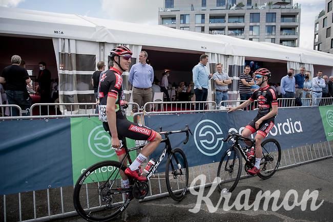 Top tier cyclocross riders Eli Iserbyt (BEL/Pauwels Sauzen-Bingoal) & Michael Vanthourenhout (BEL/Pauwels Sauzen - Bingoal) at the Race Start in the Waregem Hippodrome <br /> <br /> Belgian National Championships 2021 - Road Race<br /> <br /> One day race from Waregem to Waregem (221km)<br /> <br /> ©kramon