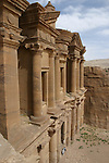 . The facade of the Deir measures 49 m long and 39 m highThe Deir, bulit on the top of a mountain is one of the most fascinating monument of petra Petra. Jordan