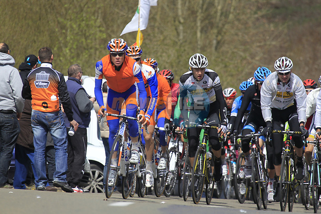 The chasing peloton led by Steven Kruijswijk (NED) Rabobank climb Cote de la Roche-en-Ardenne during the 98th edition of Liege-Bastogne-Liege, running 257.5km from Liege to Ans, Belgium. 22nd April 2012.  <br /> (Photo by Eoin Clarke/NEWSFILE).