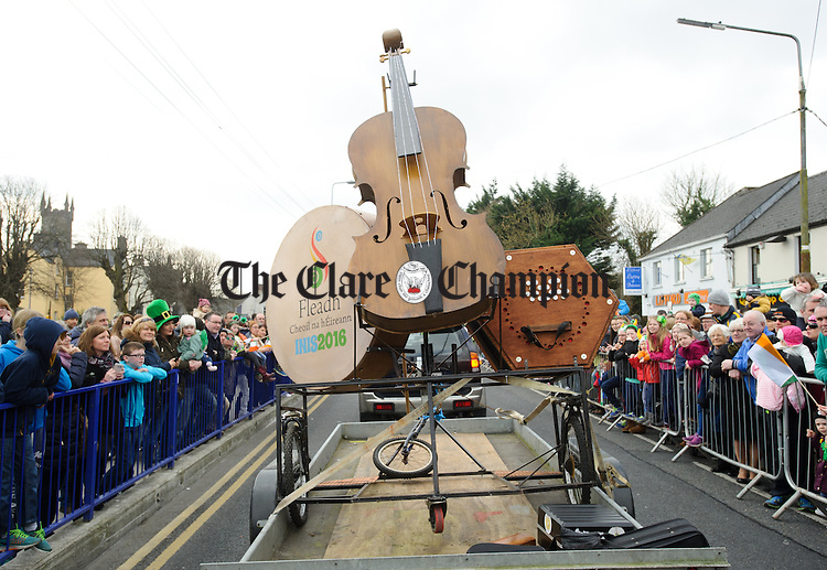 The Fleadh 2016 float during the St Patrick's Day parade in Ennis. Photograph by John Kelly.
