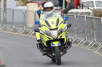 Pictured: A Dyfed Powys Police motorcycle officer. Sunday 15 September 2019<br /> Re: Ironman triathlon event in Tenby, Wales, UK.