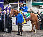 Line of Duty (#5, Galileo), William Buick up, wins the BC Juvenile Turf at Churchill Downs 11.02.18. Charles Appleby trainer, Godolphin, LLC owner.