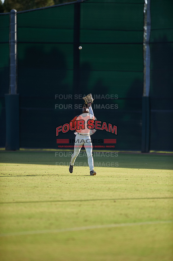 AZL Giants Orange center fielder P.J. Hilson (16) prepares to catch a fly ball during a game against the AZL Angels at Giants Baseball Complex on June 17, 2019 in Scottsdale, Arizona. AZL Giants Orange defeated AZL Angels 8-4. (Zachary Lucy/Four Seam Images)