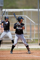 Miami Marlins Luis Pintor (2) at bat during a minor league Spring Training game against the New York Mets on March 26, 2017 at the Roger Dean Stadium Complex in Jupiter, Florida.  (Mike Janes/Four Seam Images)