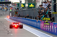 26th September 2021; Sochi, Russia; F1 Grand Prix of Russia, Race Day:  44 Lewis Hamilton GBR, Mercedes-AMG Petronas F1 Team takes the chequered flag and win