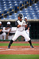 Alabama State Hornets Diandre Amion (1) at bat during a game against the Ball State Cardinals on February 18, 2017 at Spectrum Field in Clearwater, Florida.  Ball State defeated Alabama State 3-2.  (Mike Janes/Four Seam Images)