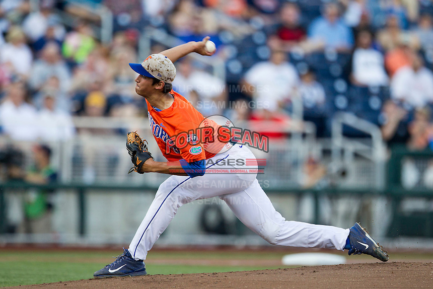 Florida Gators pitcher Dane Dunning (3) delivers a pitch to the plate against the Virginia Cavaliers in Game 13 of the NCAA College World Series on June 20, 2015 at TD Ameritrade Park in Omaha, Nebraska. The Cavaliers beat the Gators 5-4. (Andrew Woolley/Four Seam Images)