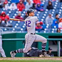 15 April 2018: Colorado Rockies infielder DJ LeMahieu watches his solo home run clear the right field wall in the 8th inning against the Washington Nationals at Nationals Park in Washington, DC. All MLB players wore Number 42 to commemorate the life of Jackie Robinson and to celebrate Black Heritage Day in pro baseball. The Rockies edged out the Nationals 6-5 to take the final game of their 4-game series. Mandatory Credit: Ed Wolfstein Photo *** RAW (NEF) Image File Available ***