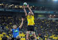 James Blackwell takes lineout ball during the Super Rugby Aotearoa match between the Hurricanes and Blues at Sky Stadium in Wellington, New Zealand on Saturday, 18 July 2020. Photo: Dave Lintott / lintottphoto.co.nz