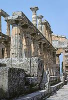 Italy: Paestum--Hera II, collonades. Photo '83.