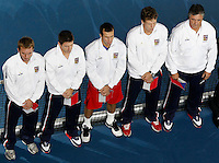 Tenis, Davis Cup 2010.Serbia Vs. Czech Republic, semifinals.opening ceremony.Czech team, from left, Ivo Minar, Jan Hajek, Radek Stepanek, Thomas Berdych and Jaroslav Navratil.Beograd, 17.09.2010..foto: Srdjan Stevanovic/Starsportphoto ©