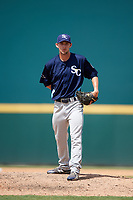Charlotte Stone Crabs relief pitcher Trevor Charpie (37) looks in for the sign looks in for the sign during a game against the Bradenton Marauders on June 3, 2018 at LECOM Park in Bradenton, Florida.  Charlotte defeated Bradenton 10-1.  (Mike Janes/Four Seam Images)