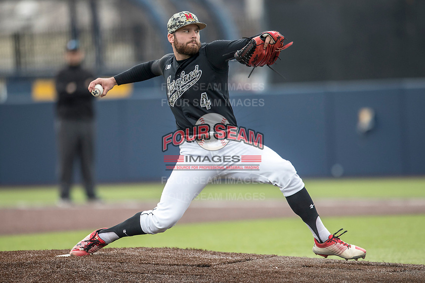 Maryland Terrapins pitcher Alec Touhy (4) delivers a pitch to the plate against the Michigan Wolverines on April 13, 2018 in a Big Ten NCAA baseball game at Ray Fisher Stadium in Ann Arbor, Michigan. Michigan defeated Maryland 10-4. (Andrew Woolley/Four Seam Images)