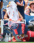 Simone Halep (ROU) defeats Marina Erakovic (NZL) 6-2, 3-0 (ret) at the US Open in Flushing, NY on September 1, 2015.