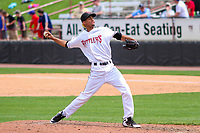 Wisconsin Timber Rattlers pitcher Carlos Herrera (16) delivers a pitch between innings during a Midwest League game against the Lansing Lugnuts on May 8, 2018 at Fox Cities Stadium in Appleton, Wisconsin. Lansing defeated Wisconsin 11-4. (Brad Krause/Four Seam Images)
