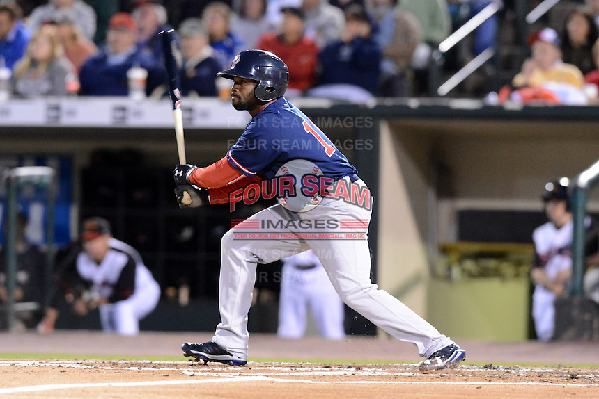 Pawtucket Red Sox outfielder Jackie Bradley Jr (19) at bat during an International League playoff game against the Rochester Red Wings on September 5, 2013 at Frontier Field in Rochester, New York.  Pawtucket defeated Rochester 7-2.  (Mike Janes/Four Seam Images)