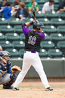 Joey DeMichele (18) of the Winston-Salem Dash at bat against the Myrtle Beach Pelicans at BB&T Ballpark on May 7, 2014 in Winston-Salem, North Carolina.  The Pelicans defeated the Dash 5-4 in 11 innings.  (Brian Westerholt/Four Seam Images)