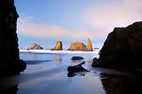 Low tide and sunrise at Bandon beach. Oregon