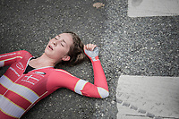 Cecilie Uttrup Ludwig (DEN/Cervélo-Bigla) dropped to the floor as soon as she finished - giving it all (finishing 10th)<br /> <br /> Women Elite Individual Time Trial<br /> <br /> UCI 2017 Road World Championships - Bergen/Norway