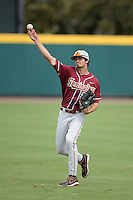 Florida State Seminoles outfielder Ben DeLuzio (21) warms up before a game against the South Florida Bulls on March 5, 2014 at Red McEwen Field in Tampa, Florida.  Florida State defeated South Florida 4-1.  (Mike Janes/Four Seam Images)