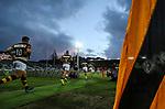 Taranaki run onto Yarrow Stadium during the Mitre 10 Cup Ranfurly Shield Rugby Match between Taranaki and Manawatu at Yarrow Stadium, New Plymouth, Auckland,  New Zealand. Wednesday 11th October 2017. Photo: Simon Watts / www.bwmedia.co.nz