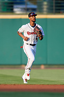 Rochester Red Wings center fielder Byron Buxton (25) jogs off the field during a game against the Lehigh Valley IronPigs on June 30, 2018 at Frontier Field in Rochester, New York.  Lehigh Valley defeated Rochester 6-2.  (Mike Janes/Four Seam Images)