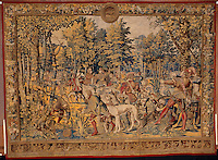 """Barent van Orley   (ca.1488-1541) Tapestry depicting the hunts of Maximilian, called the """"Belles chasses de Guise"""": June, Cancer: stag hunt, the meal. Made in Brussels, ca. 1530 Image Size 84"""" X 96"""" Plus 3"""" Burgundy Border for stretching"""