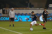 SAN JOSE, CA - SEPTEMBER 13: Efrain Alvarez #26 of the Los Angeles Galaxy during warmups at Earthquakes Stadium on September 13, 2020 in San Jose, California.