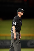 Umpire Adam Beck during an Arizona Fall League game between the Scottsdale Scorpions and Mesa Solar Sox on September 18, 2019 at Sloan Park in Mesa, Arizona. Scottsdale defeated Mesa 5-4. (Zachary Lucy/Four Seam Images)