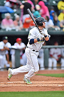 Southern Division first baseman Dash Winningham (34) of the Columbia Fireflies swings at a pitch during the South Atlantic League All Star Game at Spirit Communications Park on June 20, 2017 in Columbia, South Carolina. The game ended in a tie 3-3 after seven innings. (Tony Farlow/Four Seam Images)