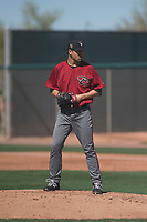Arizona Diamondbacks relief pitcher Jeff Bain (48) prepares to deliver a pitch during a Spring Training game against Meiji University at Salt River Fields at Talking Stick on March 12, 2018 in Scottsdale, Arizona. (Zachary Lucy/Four Seam Images)