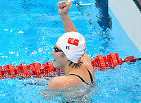 July 28, 2012: SHIWEN YE of CHINA reacts after winning Women's 400 meter individual medley at the Aquatics Center on day one of 2012 Olympic Games in London, United Kingdom.