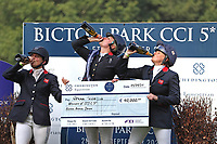 5th September 2021; Bicton Park, East Budleigh Salterton, Budleigh Salterton, United Kingdom: Bicton CCI 5* Equestrian Event; top three girls, Piggy March, Gemma Tattersall and Pippa Funnell, celebrate their wins