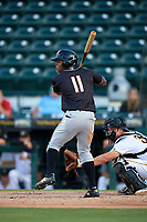 Jupiter Hammerheads Stone Garrett (11) at bat during the second game of a doubleheader against the Bradenton Marauders on May 27, 2018 at LECOM Park in Bradenton, Florida.  Jupiter defeated Bradenton 4-1.  (Mike Janes/Four Seam Images)