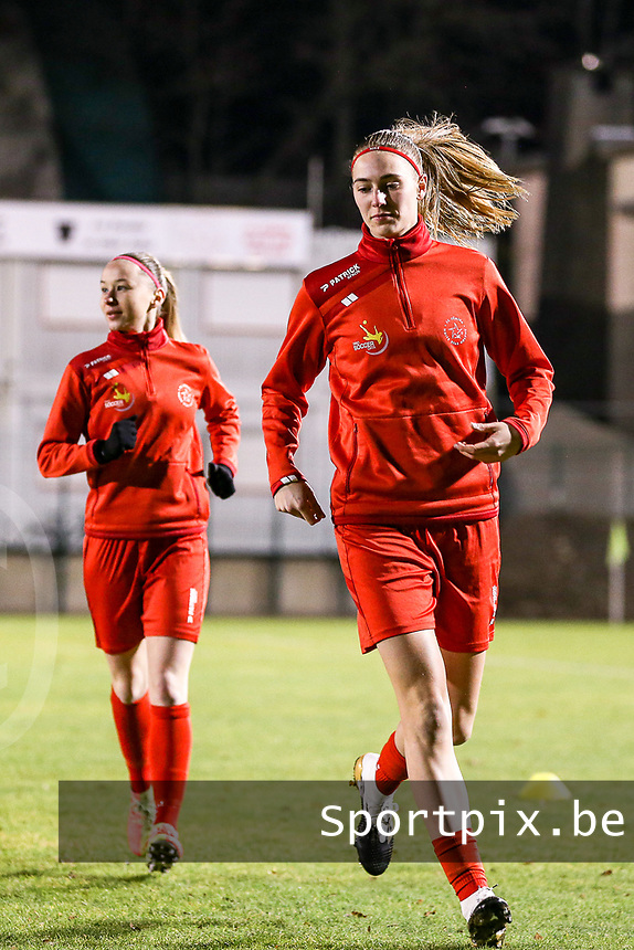Marie Bougard (10) of Woluwe warms up before a female soccer game between FC Femina White Star Woluwe and Club Brugge YLA on the eleventh matchday of the 2020 - 2021 season of Belgian Scooore Womens Super League , Friday 22 January 2021  in Woluwe , Belgium . PHOTO SPORTPIX.BE | SPP | SEVIL OKTEM