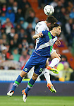 Real Madrid's Daniel Carvajal (b) and WfL Wolfsburg's Ricardo Rodriguez during Champions League 2015/2016 Quarter-finals 2nd leg match. April 12,2016. (ALTERPHOTOS/Acero)