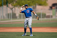 Chicago Cubs third baseman Fidel Mejia (16) during an Extended Spring Training game against the Los Angeles Angels at Sloan Park on April 14, 2018 in Mesa, Arizona. (Zachary Lucy/Four Seam Images)