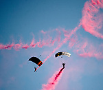 SARATOGA SPRINGS, NY - AUGUST 26: The West Point Parachute Team practices for their official jump on Travers Stakes Day at Saratoga Race Course on August 26, 2017 in Saratoga Springs, New York. (Photo by Scott Serio/Eclipse Sportswire/Getty Images)