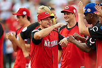 Nick Lachey during the All-Star Legends and Celebrity Softball Game on July 12, 2015 at Great American Ball Park in Cincinnati, Ohio.  (Mike Janes/Four Seam Images)
