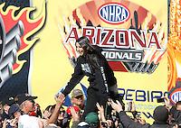 Feb. 24, 2013; Chandler, AZ, USA; NHRA funny car driver Alexis DeJoria during the Arizona Nationals at Firebird International Raceway. Mandatory Credit: Mark J. Rebilas-