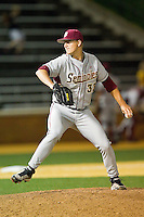Florida State Seminoles relief pitcher Bryant Holtmann #33 in action against the Wake Forest Demon Deacons at Wake Forest Baseball Park on March 24, 2012 in Winston-Salem, North Carolina.  The Seminoles defeated the Demon Deacons 3-2.  (Brian Westerholt/Four Seam Images)