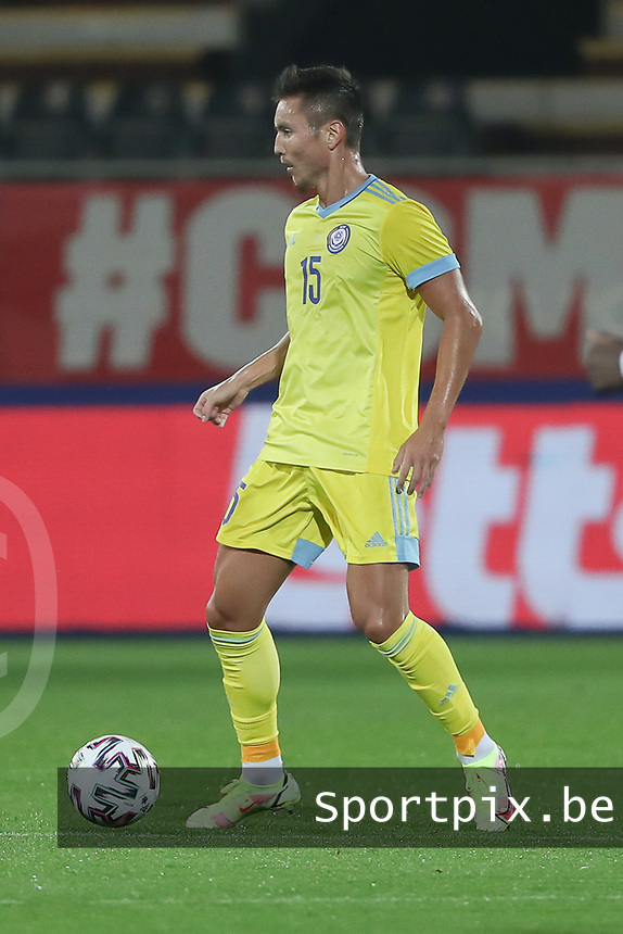Arman Kenessov (15) of Kazakhstan with the ball during a soccer game between the national teams Under21 Youth teams of Belgium and Kazakhstan on the third matday in group I for the qualification for the Under 21 EURO 2023 , on friday 8 th of october 2021  in Leuven , Belgium . PHOTO SPORTPIX | SEVIL OKTEM