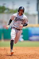 Biloxi Shuckers shortstop Jake Hager (2) runs the bases during a game against the Montgomery Biscuits on May 8, 2018 at Montgomery Riverwalk Stadium in Montgomery, Alabama.  Montgomery defeated Biloxi 10-5.  (Mike Janes/Four Seam Images)