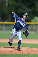 Tampa Bay Rays pitcher Hunter Wood (75) during an Instructional League game against the Pittsburgh Pirates on September 27, 2014 at Charlotte Sports Park in Port Charlotte, Florida.  (Mike Janes/Four Seam Images)
