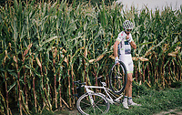 """""""hello?!...""""<br /> <br /> Brice Feillu (FRA/Fortuneo-Samsic)<br /> <br /> Antwerp Port Epic 2018 (formerly """"Schaal Sels"""")<br /> One Day Race:  Antwerp > Antwerp (207 km; of which 32km are cobbles & 30km is gravel/off-road!)"""