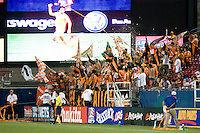 Houston Dynamo fans cheer on their team following Houston Dynamo midfielder Dwayne De Rosario's (14) game tying goal in stopage time. Houston Dynamo vs FC Dallas  at Pizza Hut Park in Frisco, Texas May-28-2008. Final Score 2-2