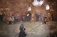 """Europe/France/Ile-de-France/78/Versailles: Restaurant Brasserie """"Le Chien qui fume"""" 72 rue de la Paroisse détail décoration de la salle , tableaux de chiens par le Peintre Georges Janier - Une meute de chien est rassemblée autour d'une table de jeu"""