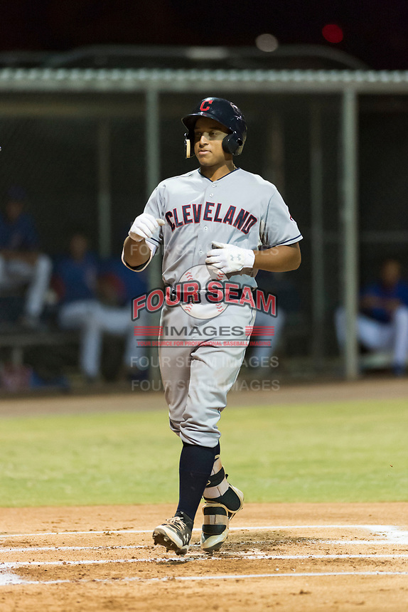 AZL Indians 2 catcher Noah Naylor (12) crosses home plate after hitting his first professional home run during an Arizona League game against the AZL Cubs 2 at Sloan Park on August 2, 2018 in Mesa, Arizona. The AZL Indians 2 defeated the AZL Cubs 2 by a score of 9-8. (Zachary Lucy/Four Seam Images)