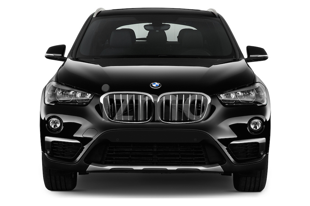 Car photography straight front view of a 2017 BMW X1 xDrive28i 5 Door SUV Front View